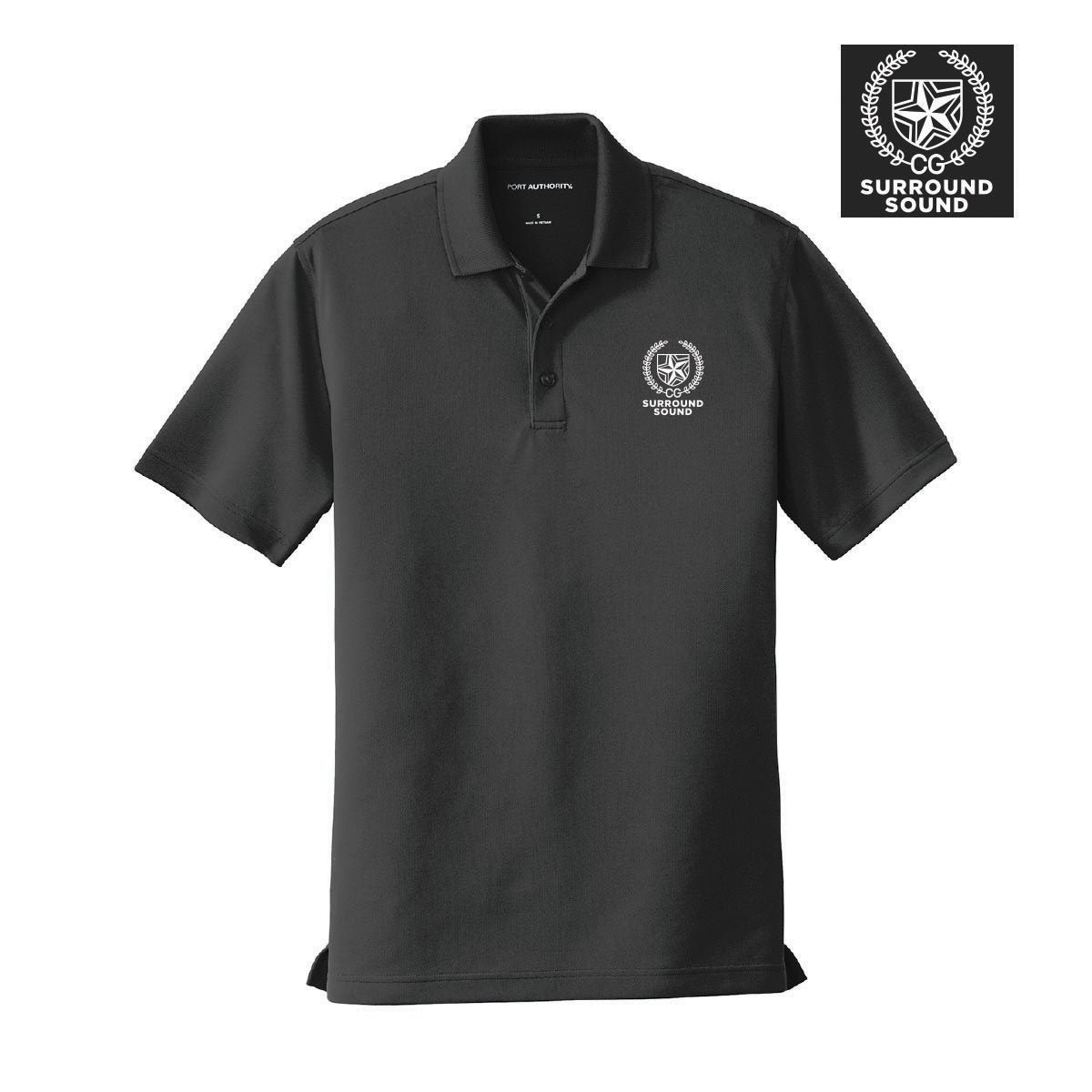 Surround Sound Black Crest Polo