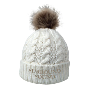 Surround Sound Cream Fur Pom Beanie