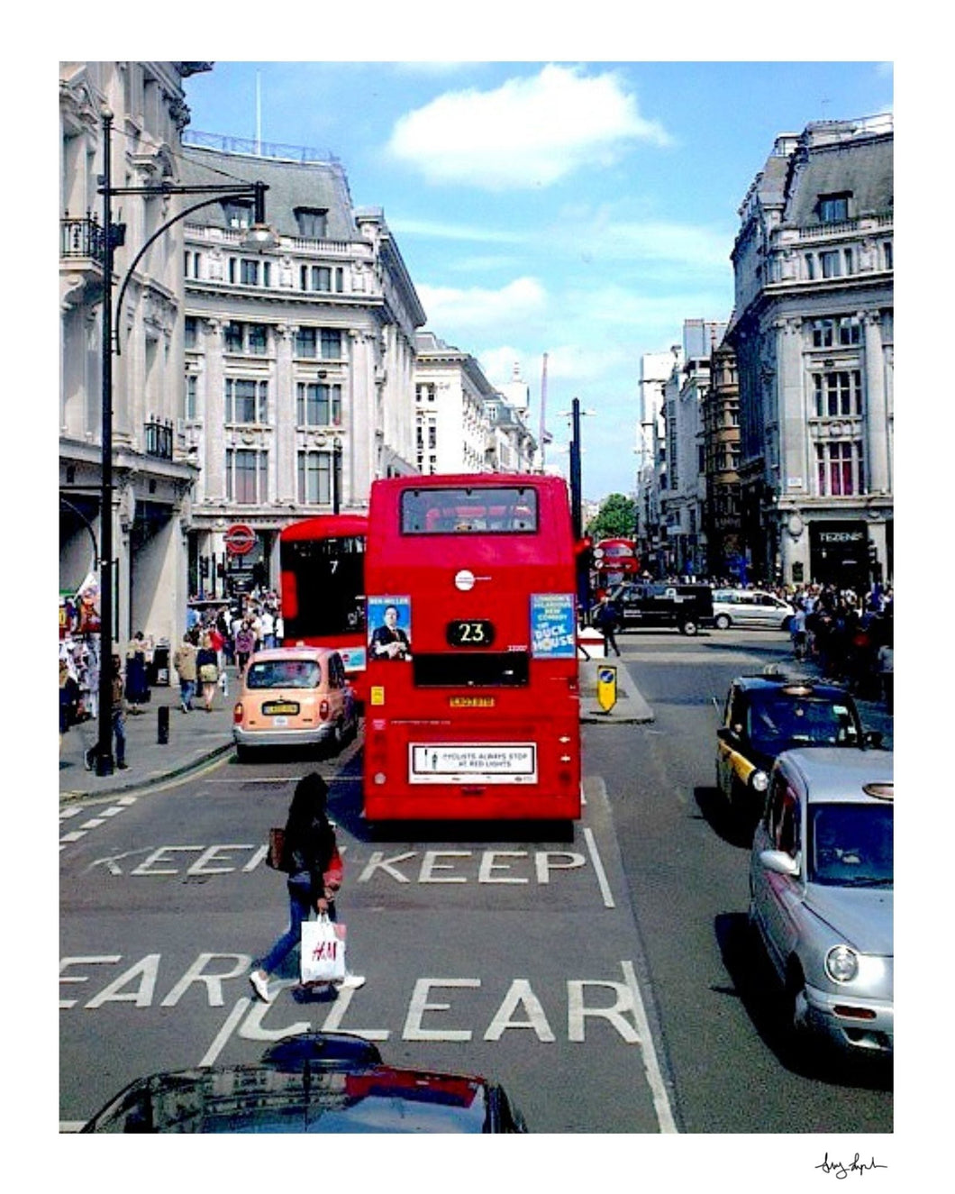 London England Oxford Street Red Bus And Black Cabs - Fine Art Travel Print