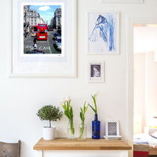 Load image into Gallery viewer, London England Oxford Street Red Bus And Black Cabs - Fine Art Travel Print