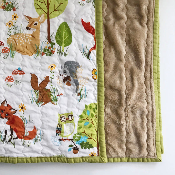Green Forest Friends Baby Quilt | Nursery Decor