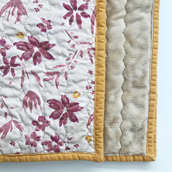 Rustic Flowers Baby Quilt | Nursery Decor