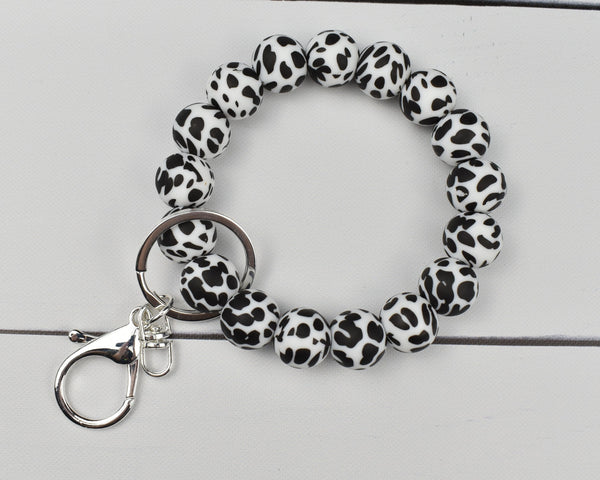 Dalmatian (Black and White) Silicone Keychain Bracelet
