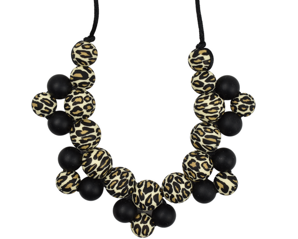Black and Leopard Cluster Silicone Kid Necklace