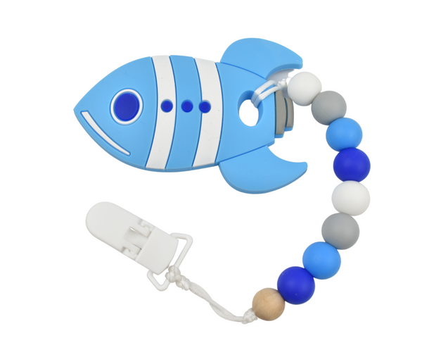 Blue Rocket Silicone Baby Teether