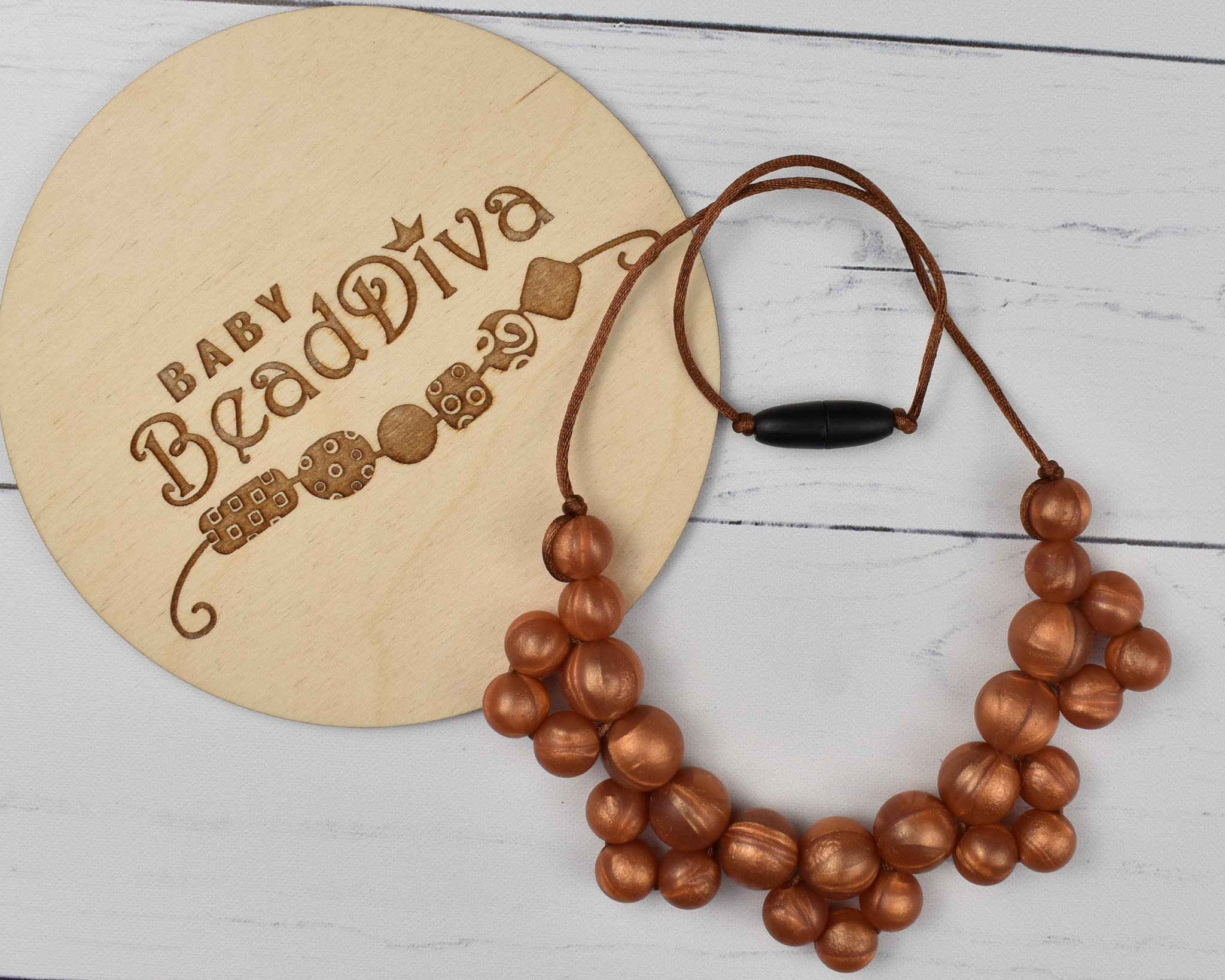 Bronze Cluster Silicone Kid Necklace
