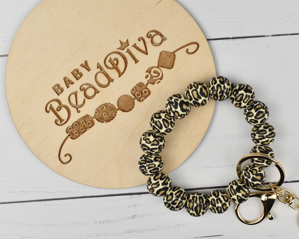 Brown Leopard Silicone Keychain Bracelet with Metal Charm