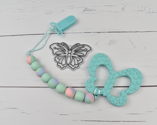 Tie Dye Butterfly Silicone Baby Teether - Multi Colours Available