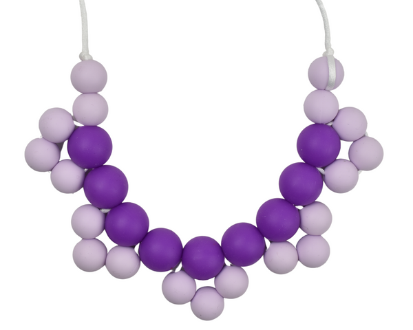 Dark and Light Purple Cluster Silicone Kid Necklace