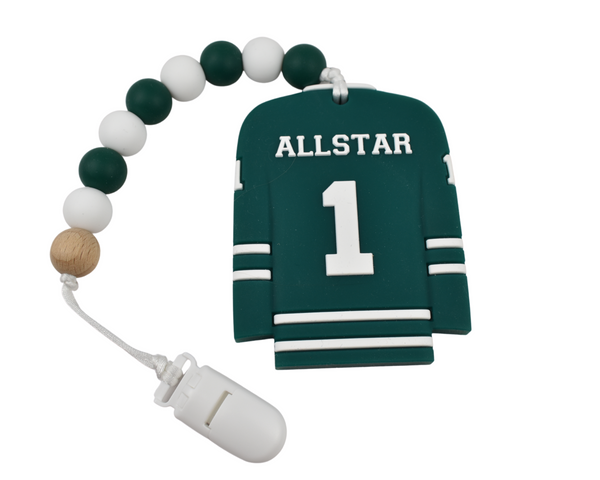 Hockey Jersey Silicone Baby Teether - Red and Green Available