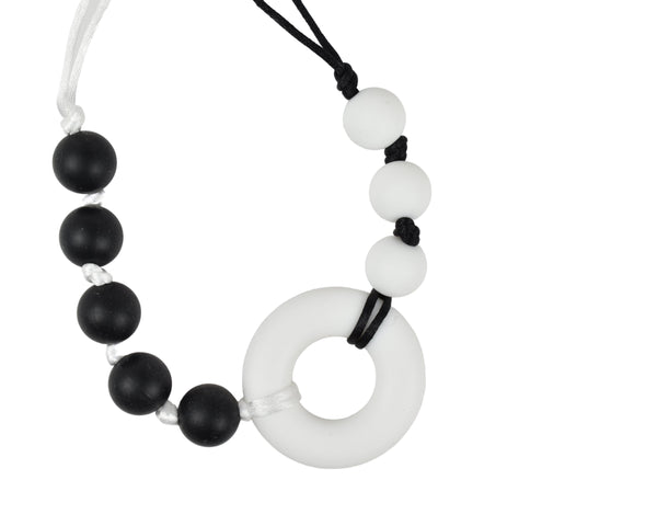 Black and White Silicone Donut Necklace