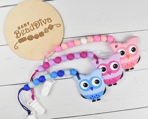 Owl Silicone Baby Teether - Multiple Colours Available