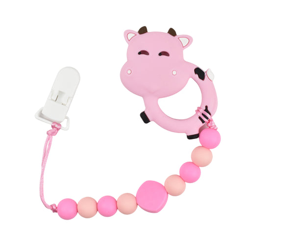Cow Silicone Baby Teether - Multiple Colours Available