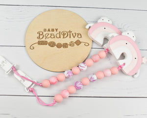 Pink Rainbow Silicone Baby Teether