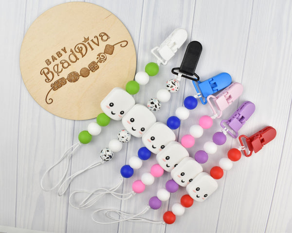 Marshmallow Silicone Baby Soother Clip - Multiple Colours Available