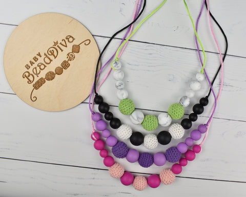 Crochet Silicone Necklace- Multiple Colours Available