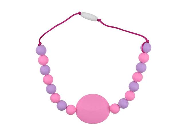 Pink and Purple Flat Round Kids Necklace