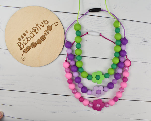 Flower Kids Chewing Necklace - Multiple Colours Available