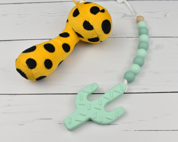 Mint Cactus Silicone Baby Teether