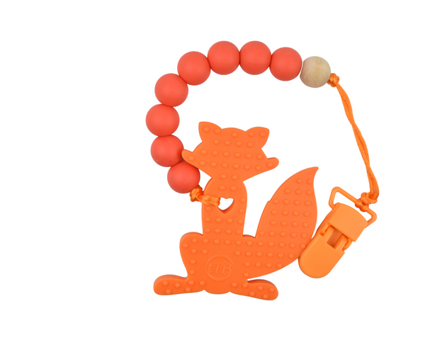 Orange Fox Silicone Baby Teether