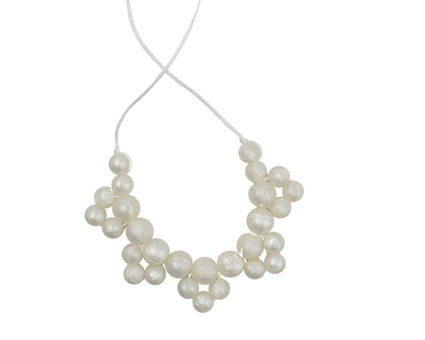 White Pearl Cluster Silicone Kid Necklace