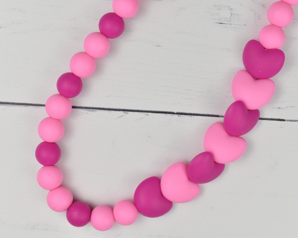 Pink Heart Silicone Kid Necklace