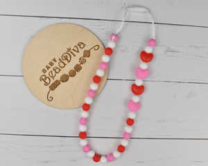 Pink and Red Heart Silicone Kid Necklace