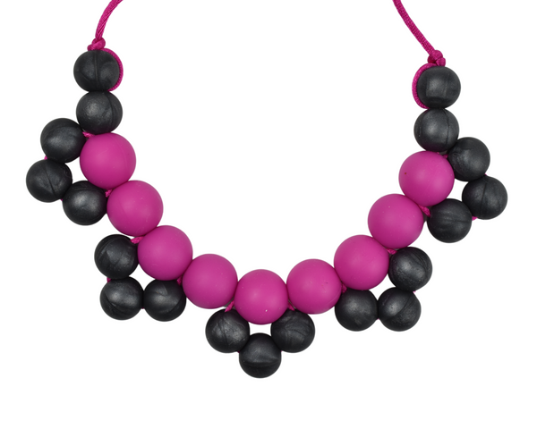 Metallic Black and Pink Cluster Silicone Kid Necklace