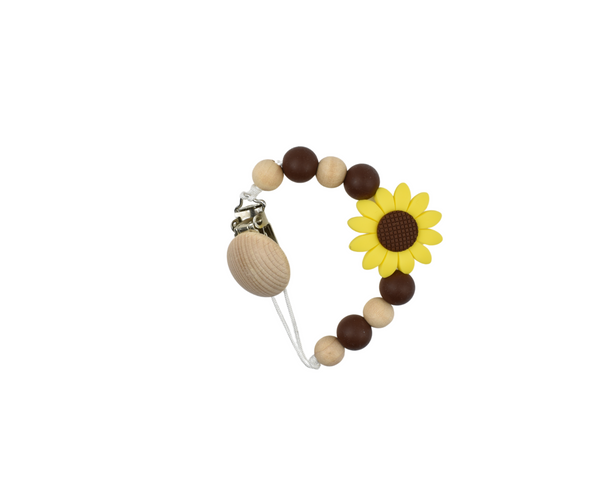 Sunflower Silicone Baby Soother Clip with Maple Wood