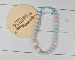 Tie Dye, Mint and Pink Silicone Kid Necklace