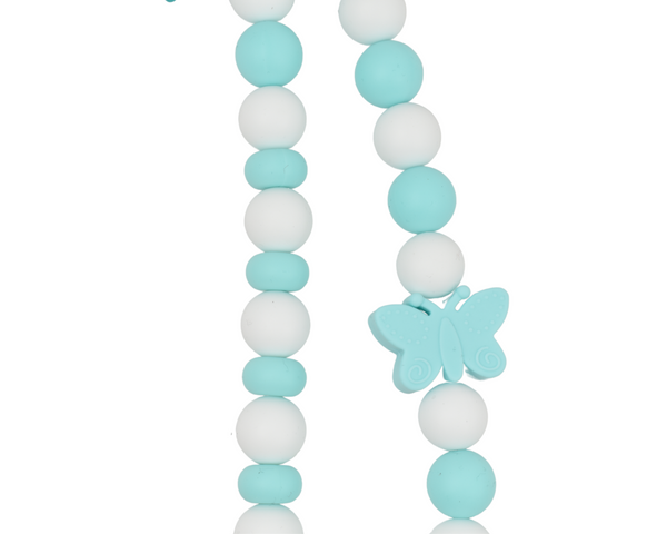 Spring Turquoise Blue and White Butterfly Necklace
