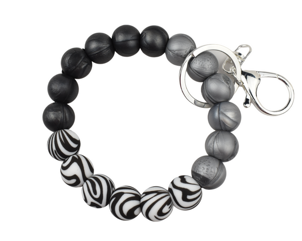 Zebra Silicone Keychain Bracelet with Several Metal Charm Options