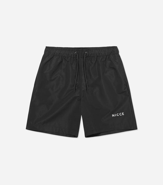Classic core swimshorts in black. Features, adjustable drawstring, mesh lining, side pockets, single back pocket and printed NICCE logo.