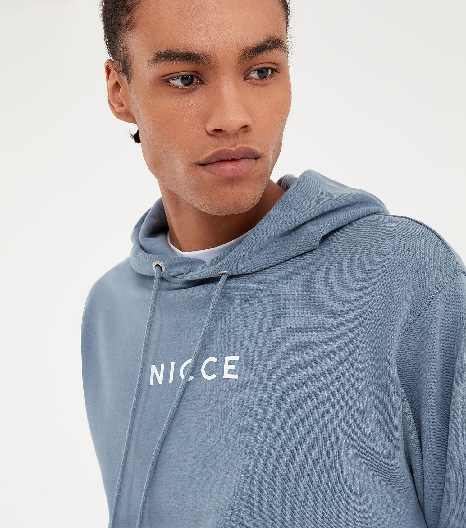 NICCE Mens Loopback Centre Logo Hood | Blue Mirage, Hoodies