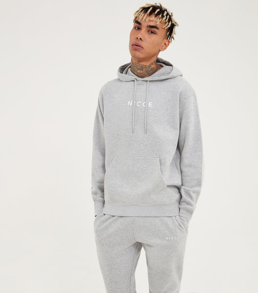 NICCE Mens Original Centre Logo Hood | Light Grey Marl