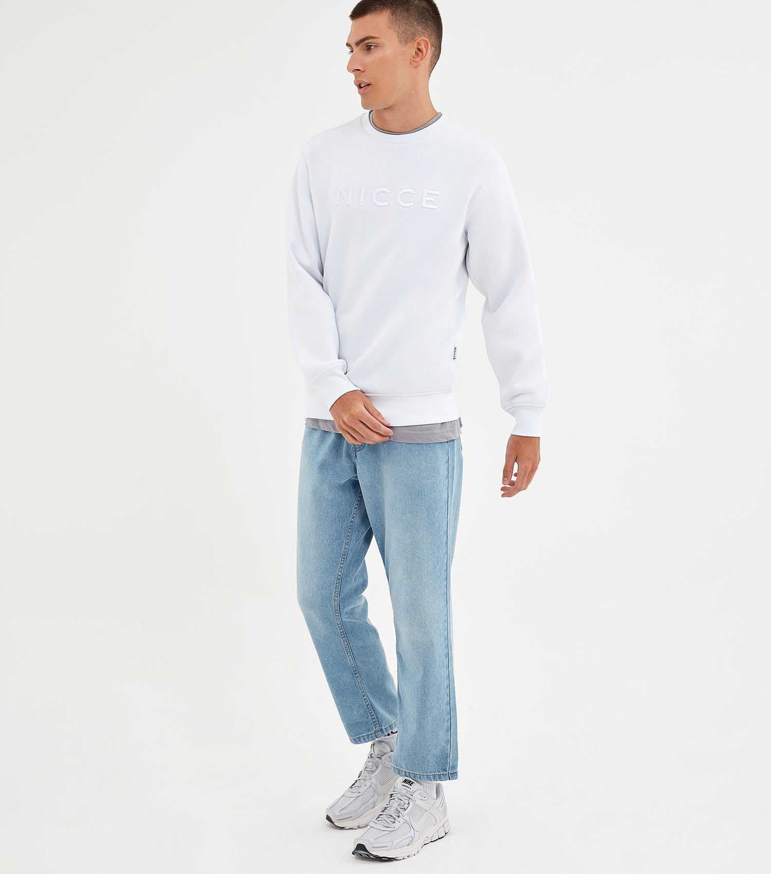 NICCE Mens Mercury Sweat | White, Sweatshirts