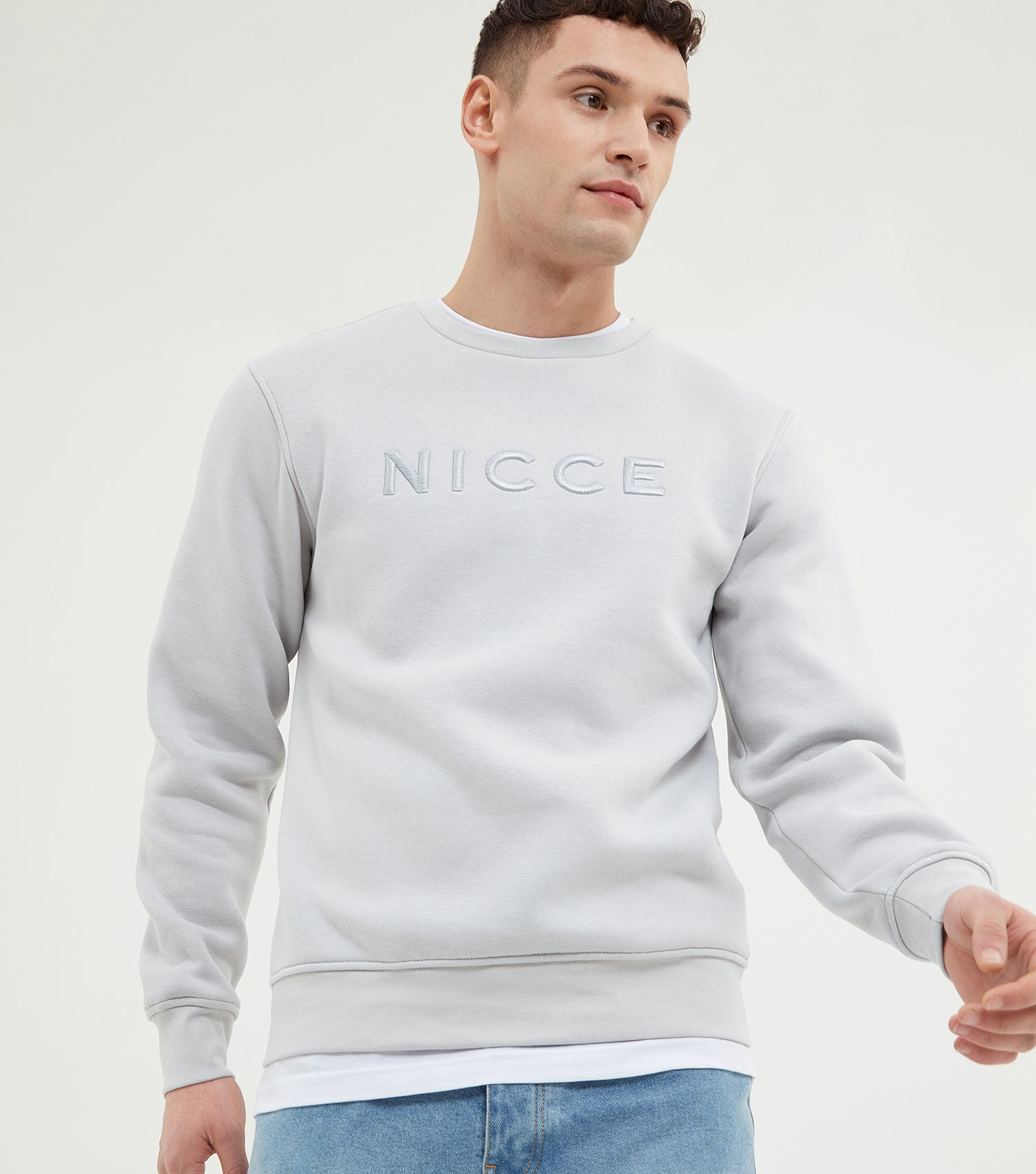 Nicce Mens Mercury Sweat | Stone Grey, Sweatshirts