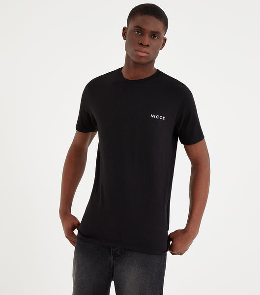 This black top features the large classic NICCE logo across the chest. A short-sleeved t-shirt is a style staple for any wardrobe and can be paired with jeans or joggers for casual comfort.