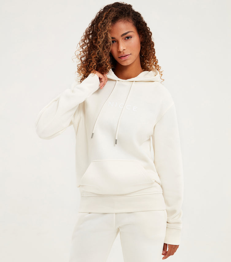 Nicce Womens Centre Logo Hood | Cream