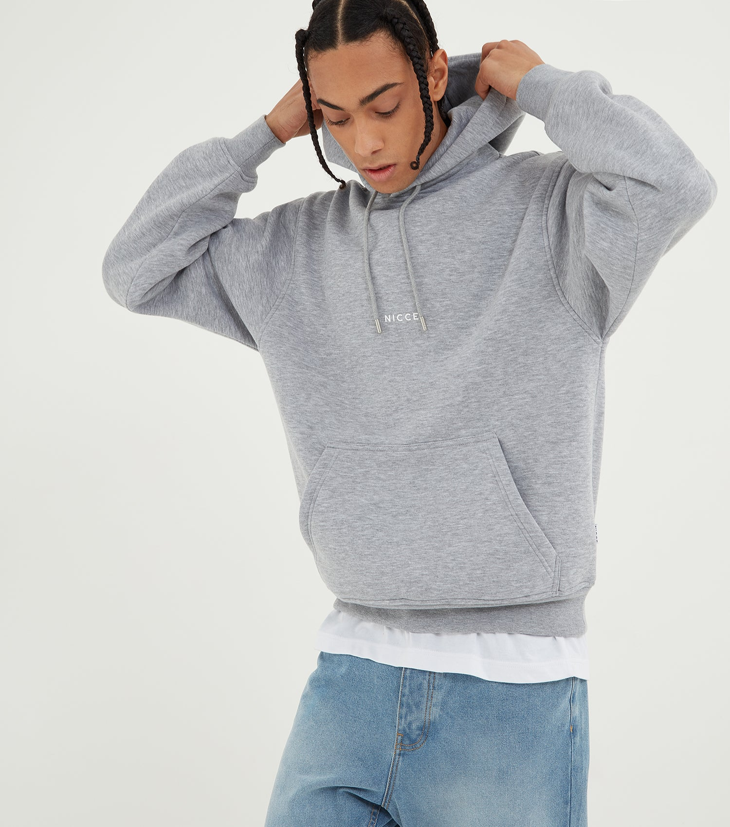 Nicce Mens Mini Centre Logo Hood | Light Grey Marl, Hoodies