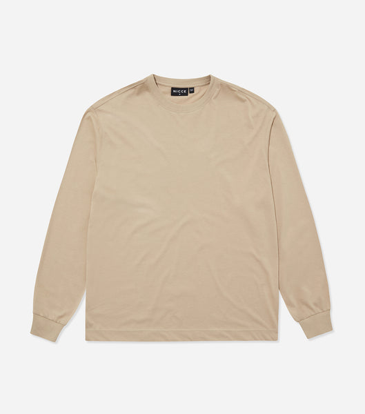 Nicce Mens Essentials LS T-Shirt | Taupe