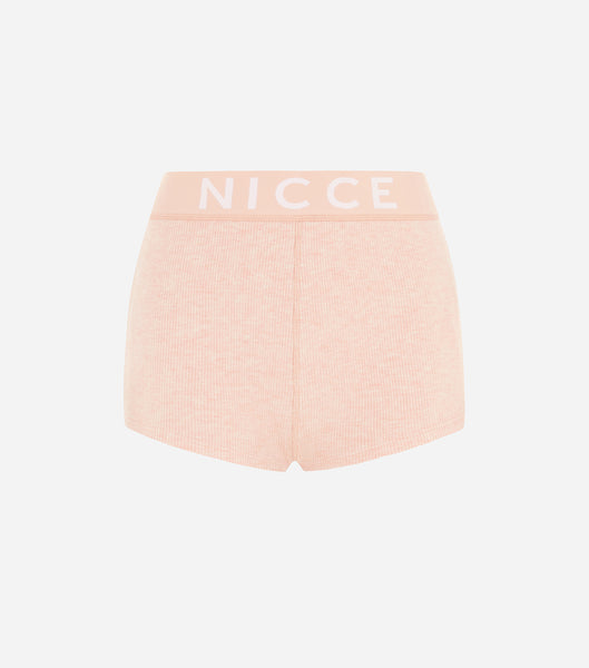 Nicce Womens Lull Rib Shorts | Dusty Pink Marl