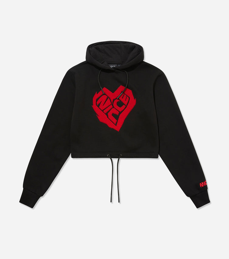 Nicce Womens Heart Cropped Hood | Black/ Red