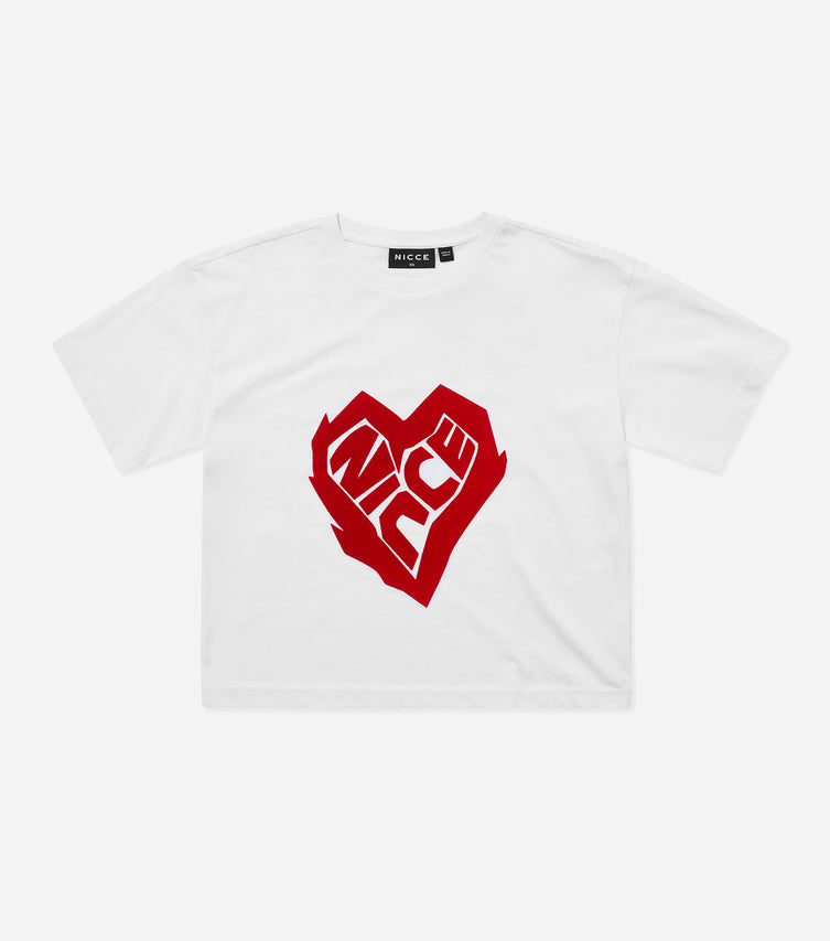 Nicce Womens Heart Crop T-Shirt | White / Red