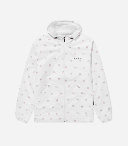 "Motif jacket in white. Featuring full zip, classic shape, regular fit, hood and all over ""N"" logo, motif print. Pair with joggers."