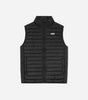 Pathway gilet in black. Features quilted design, funnel collar, zip fastening, functional pockets, regular fit, reflective front and rear branding. Pair with jogger and hood set.