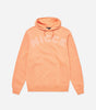Bower hood in coral. Featuring relaxed fit, overhead hood and large front embroidery logo. Pair with joggers.