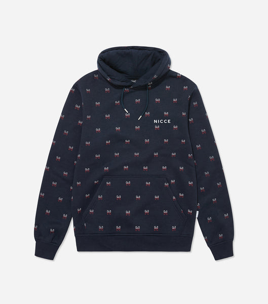 "Motif hood in navy. Featuring classic style, regular fit, overhead hood, front pouch and printed repeat ""N"" motif branding and chest logo. Pair with joggers or shorts."