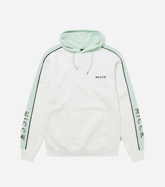 Border hood in off white and mint. Features relaxed fit hood with contrast panels, overhead hood and arm branding. Pair with joggers.