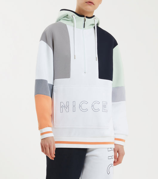 NICCE limited edition teria hood in coral, deep navy and white. Features oversize fit, colour block design, mesh pouch pocket, funnel neck, multi colours, large front branding and tipped ribbing.